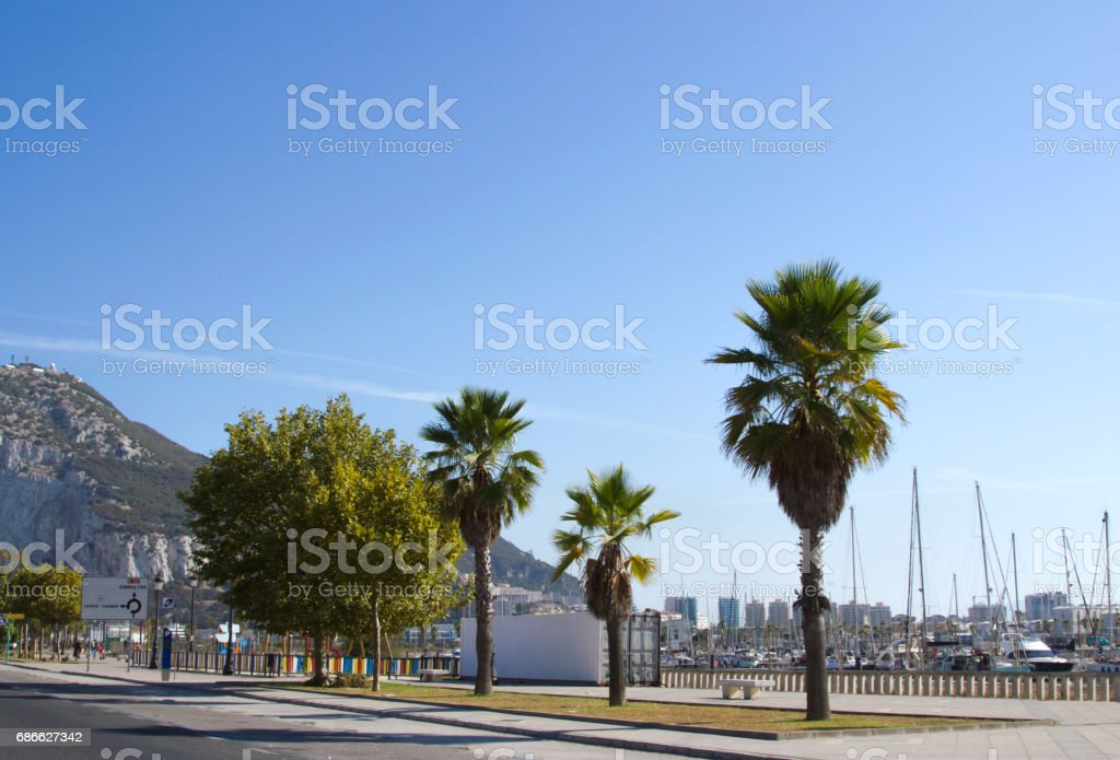 View from border point while border crossing at entrance to Gibr royalty-free stock photo