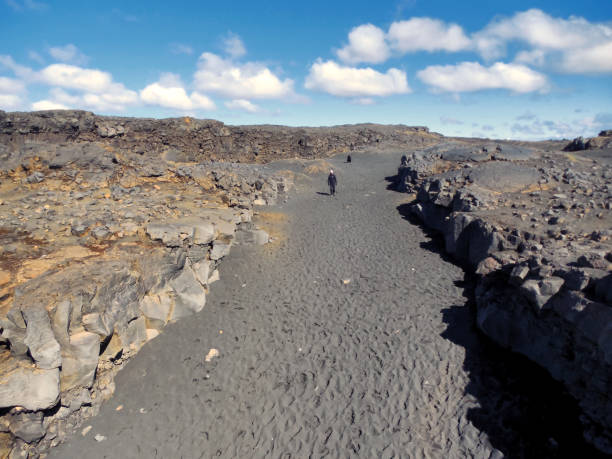 View from Bridge Between Continents in Iceland stock photo
