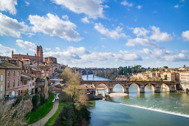 View from bridge in Albi Winter view in Albi southern charm stock pictures, royalty-free photos & images