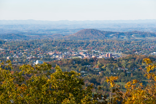 View from Buffalo Mountain of the town of Johnson City, Tennessee