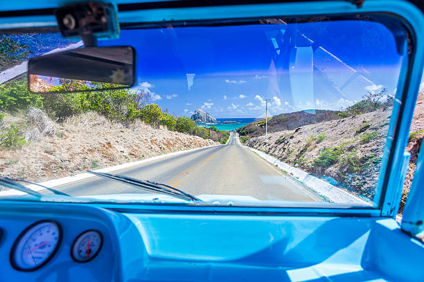 View from buggy car ,Fernando de Noronha stock photo