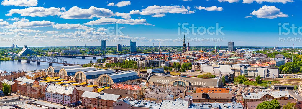 View from building of  Academy of Sciences on old Riga royalty-free stock photo