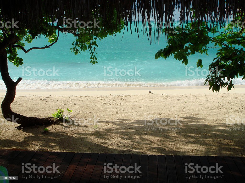View from bungalow to sea royalty-free stock photo
