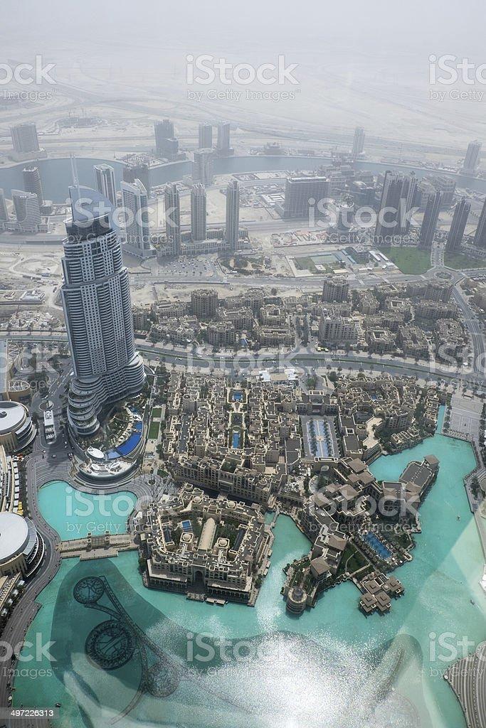 View from Burj Khalifa Dubai stock photo