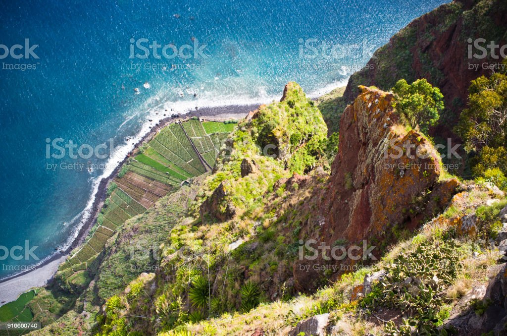 View from Cabo Girao cliff. Madeira island, Portugal. stock photo