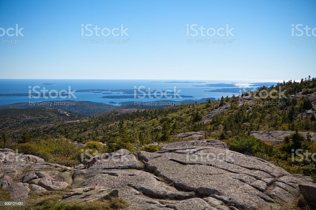 View from Cadillac mountain in Maine stock photo