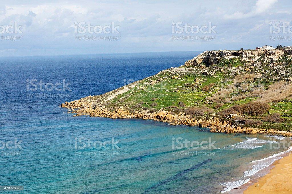 Vista dalla Grotta del Calypso di Gozo, Malta foto stock royalty-free