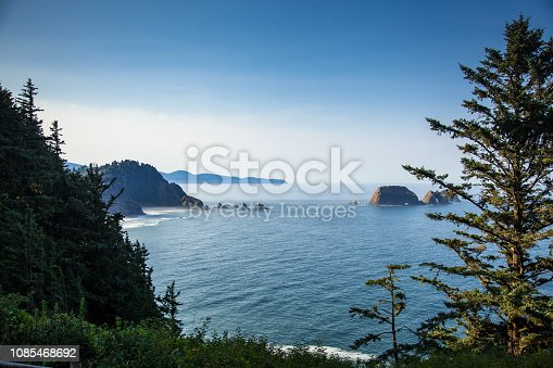 Sea stacks and arches off the Oregon Coast, taken from Cape Meares.