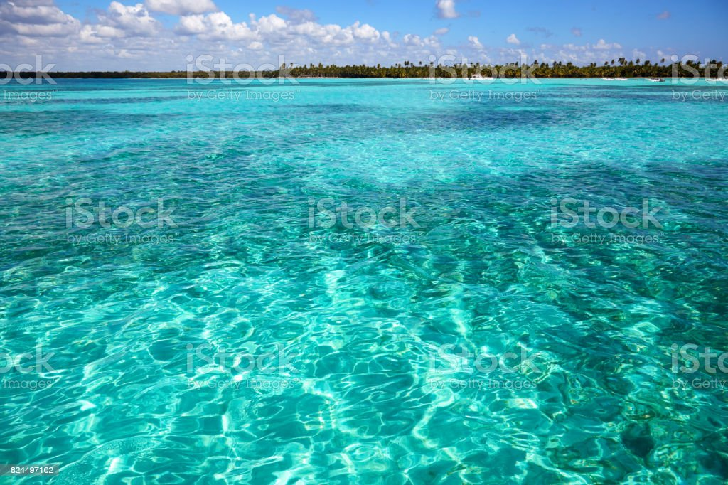 View from Caribbean Sea on coast  Dominican stock photo