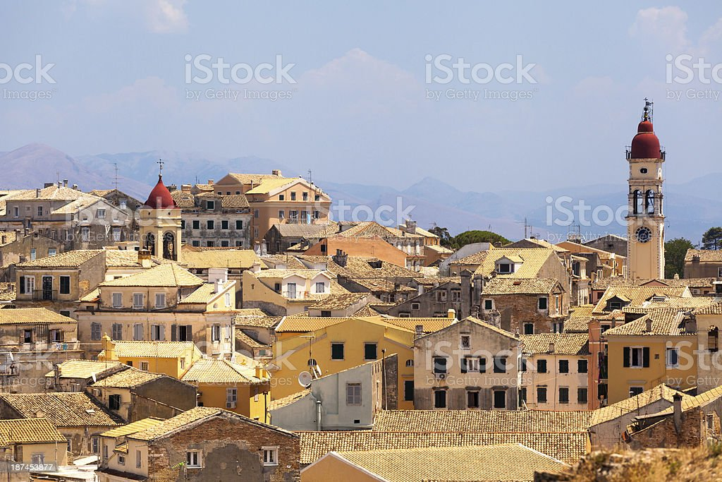 View from castle to Corfu-Town stock photo