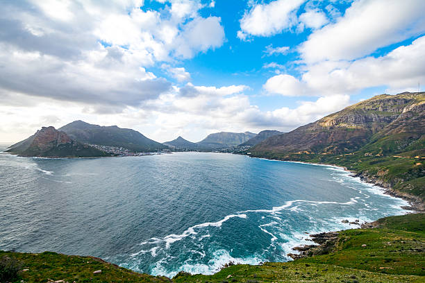 View from Chapmans Peak Drive on in South Africa View from Chapmans Peak Drive on Hout Bay, Cape Town, South Africa hout stock pictures, royalty-free photos & images