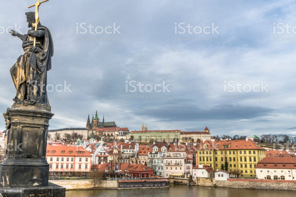 View from Charles bridge to St. Vitus Cathedral stock photo