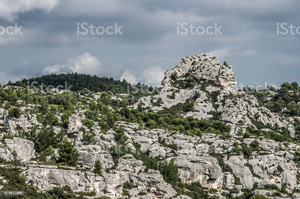 View from Cheateau des Baux, France stock photo