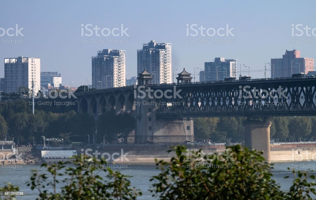 View from  China's hubei province wuhan to old palace Can be see double deck bridge at Wuhan Yangtze stock photo