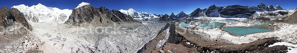 view from Cho Oyu base camp to gyazumba glacier stock photo