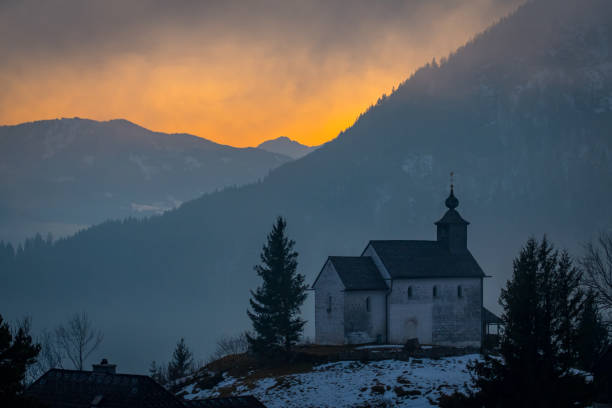 View from church in Puergg over valley Ennstal to sunset – Foto