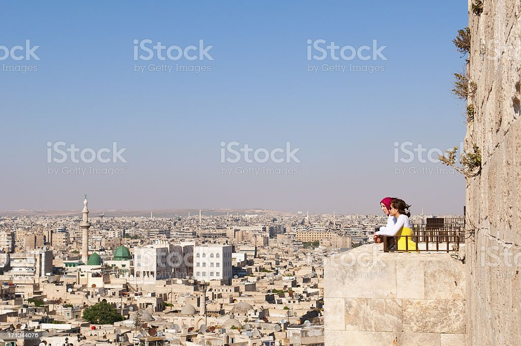 View from Citadel in Aleppo, Syria stock photo