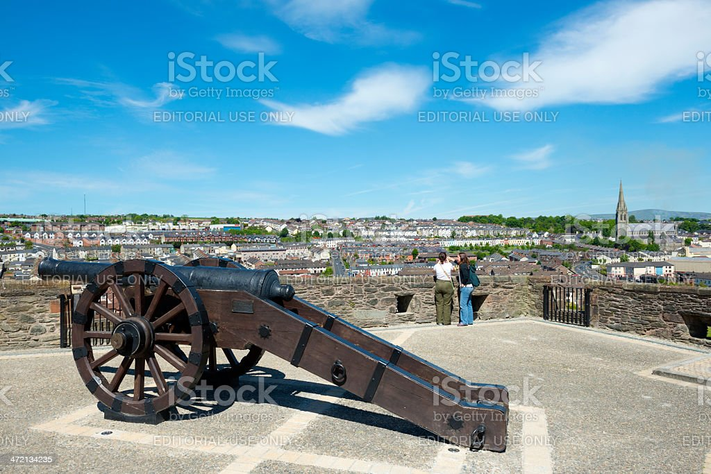 View from city walls of Derry, Northern Ireland stock photo