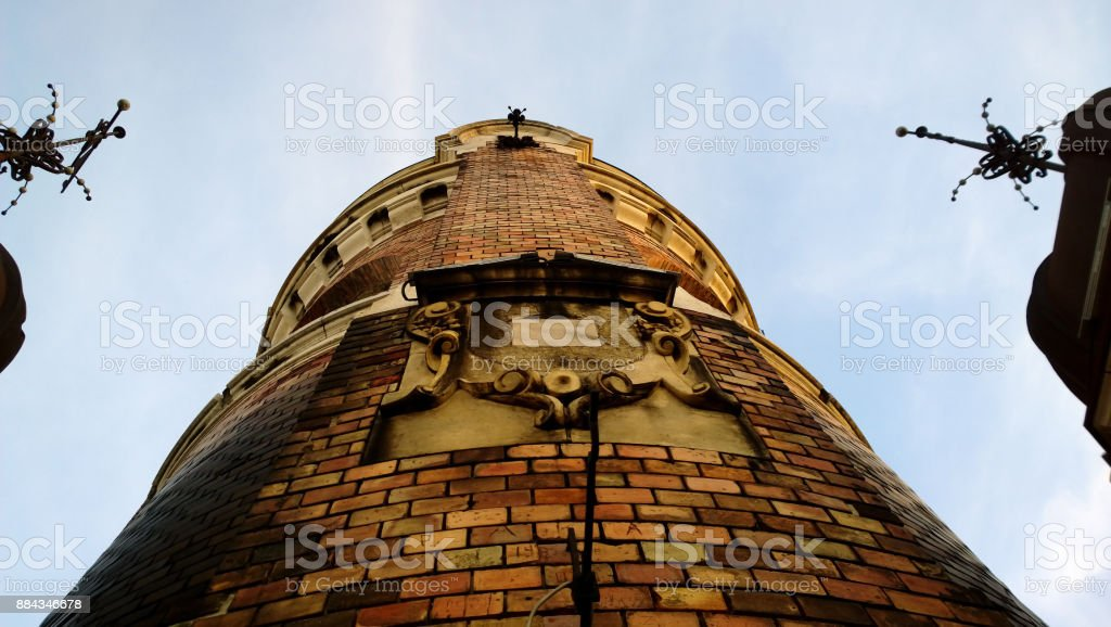 View from close to the Millennium tower in Zemun in Belgrade (Serbia) stock photo