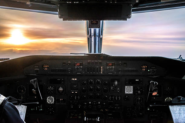 View from cockpit during flight stock photo