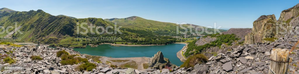 View from Dinorwic Quarry, Wales, UK stock photo