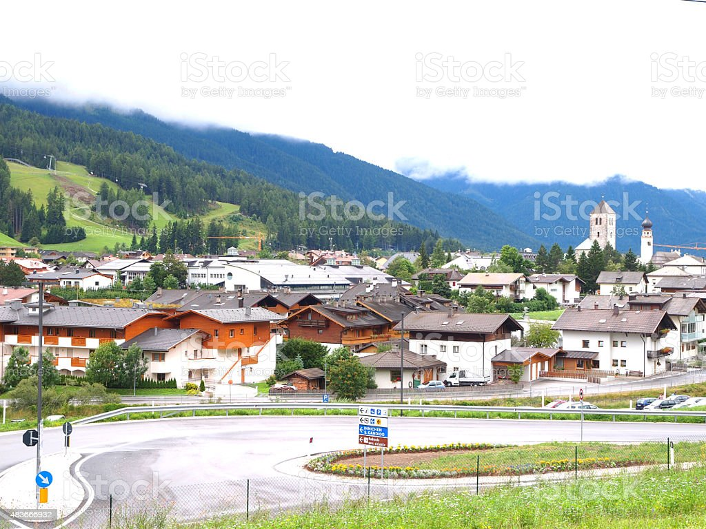 View from Drauradweg of  Innichen - San Candido in Italy stock photo