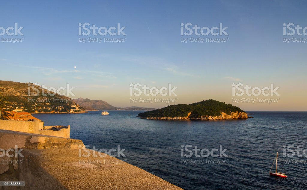 View from Dubrovnik walls: Lokrum Island and Adriatic Sea royalty-free stock photo