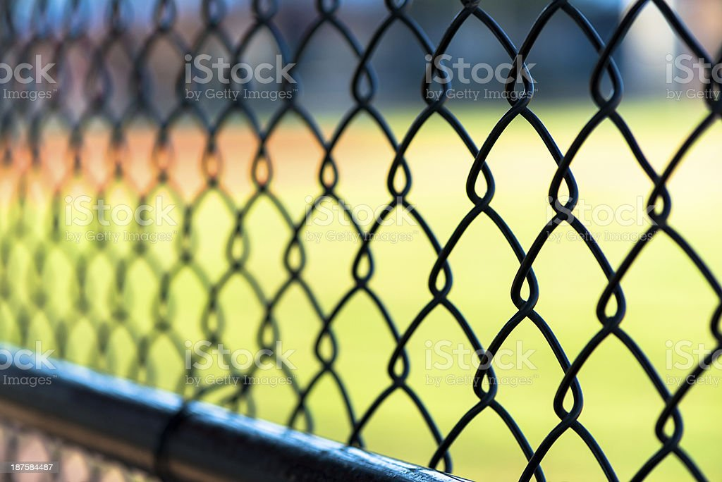 View from Dugout through Chainlink stock photo