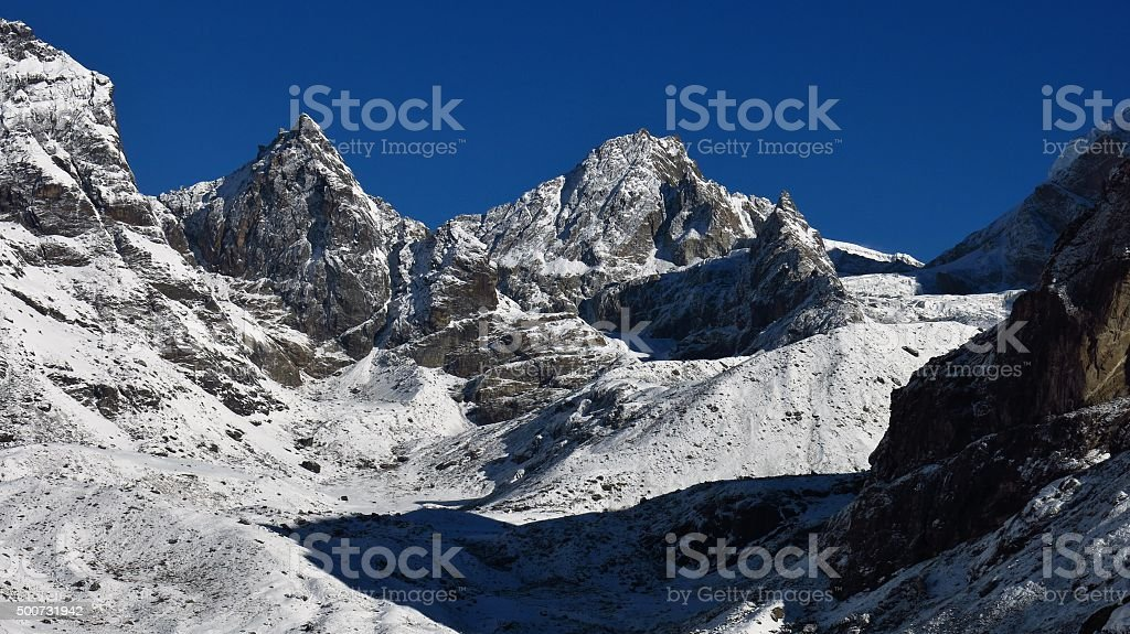 View from Dzongla towards the Cho La mountain pass stock photo