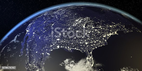 istock USA View From Earth At Night With City Lights 929629262