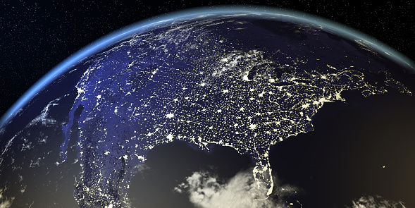 989624498 istock photo USA View From Earth At Night With City Lights 929629262