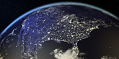 USA View From Earth At Night With City Lights