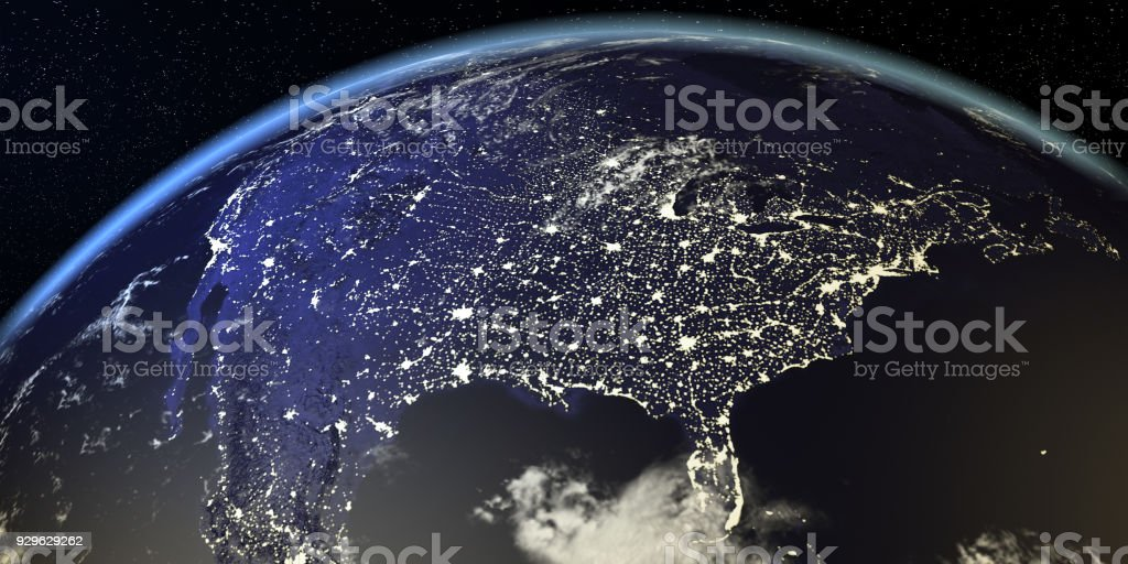 USA View From Earth At Night With City Lights stock photo