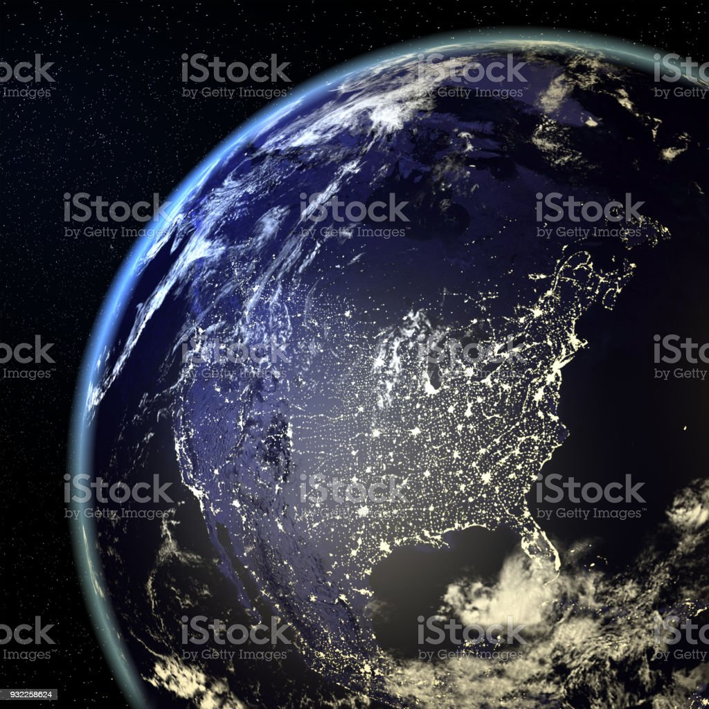 USA View From Earth At Night With City Lights royalty-free stock photo