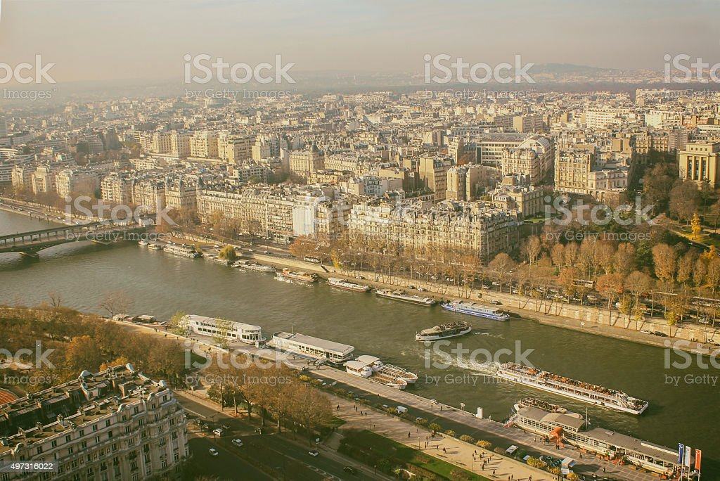 View from Eiffel tower. Paris in November.