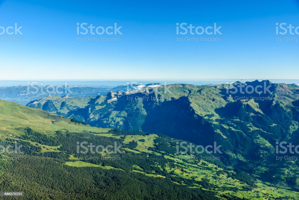 View from Eiger north wall at Grindelwald in the Bernese Alps in Switzerland stock photo