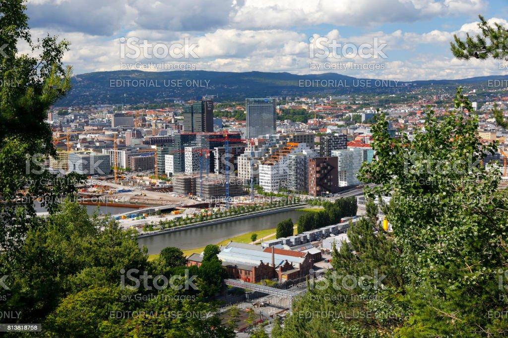 View from Ekeberg Park to dowtown Oslo, Norway stock photo