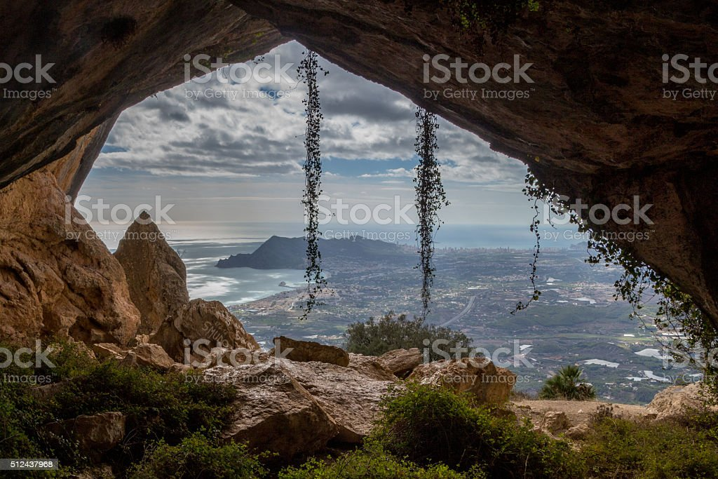 View from 'El Forat' tunnel above Altea, Costa Blanca stock photo