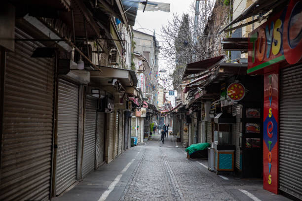 View from empty streets of Tahtakale bazaar,Eminonu. stock photo