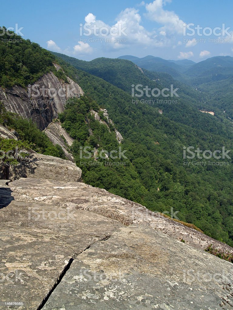 View from 'Exclamation Point', Chimney Rock State Park, NC stock photo
