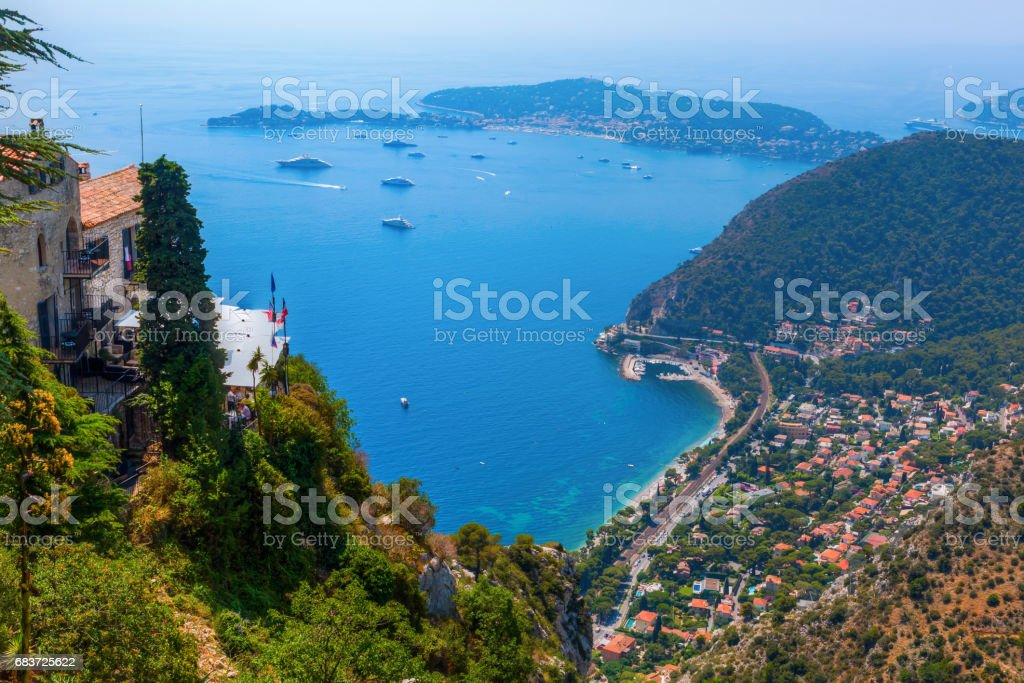 view from Eze, France, over the coast stock photo