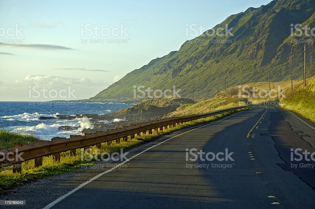 View from Farrington Highway, over looking Pacific Ocean stock photo