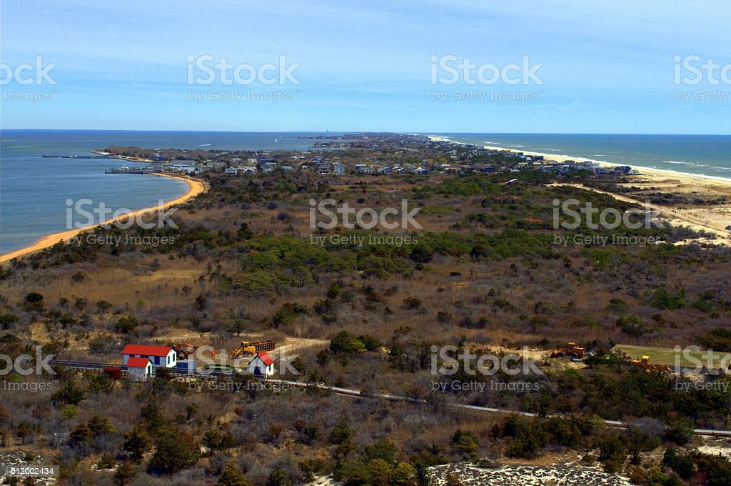 View from Fire Island Lighthouse tower stock photo