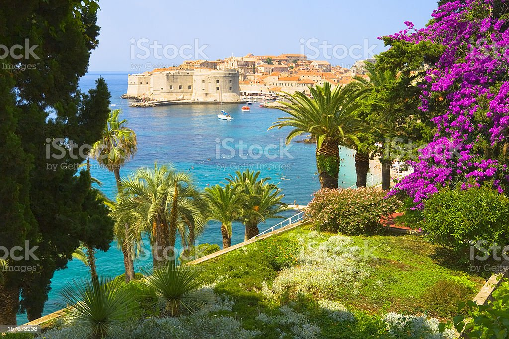 View from floral garden on Dubrovnik, Croatia stock photo