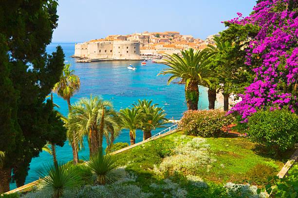 Blick vom Garten Blumenmuster auf Dubrovnik, Kroatien – Foto