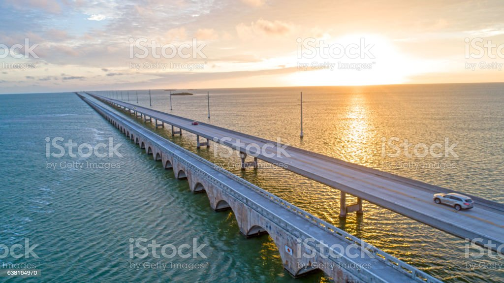 View From Florida Keys Tropical Road to Paradise stock photo