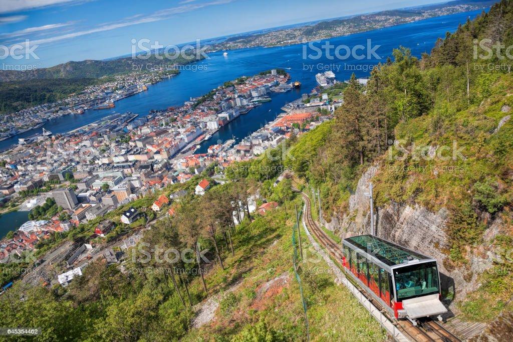 View from Floyen with lift in Bergen Norway bildbanksfoto