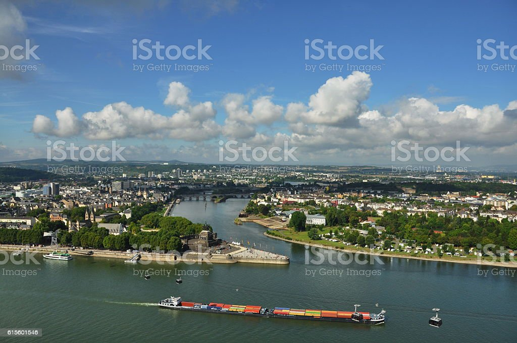 View from Fortress Ehrenbreitstein in Koblenz- Germany stock photo