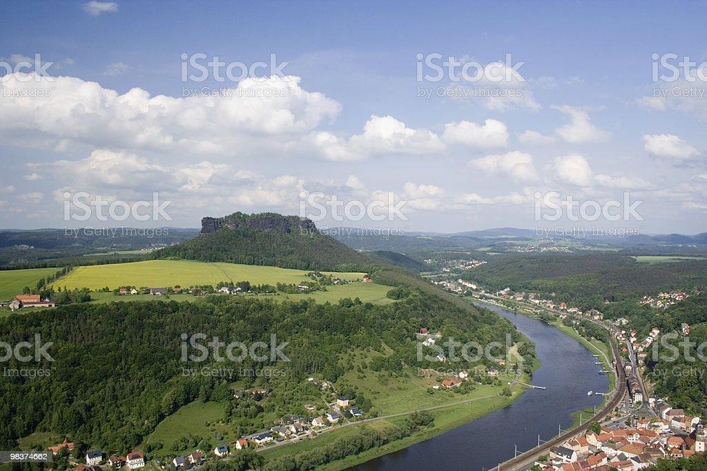 Vista della Fortezza Königstein foto stock royalty-free