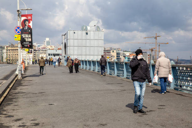View from Galata Bridge.Because of a new type of coronavirus cases in Turkey. stock photo
